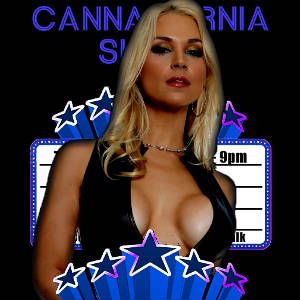 Picture marquee mash-up of Sarah Vandella on the Cannapornia Show.