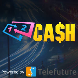 Graphic illustration of 12Cash Logo against a background of streaking vehicle lights.