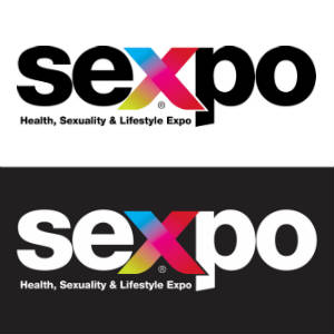 The logo for Australia's Sexpo, twice: in black on white, and white on black.