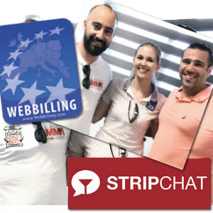 WebBilling and Stripchat logos pictured with Eva Zankel of the first and Jim Austin of the second respective companies.