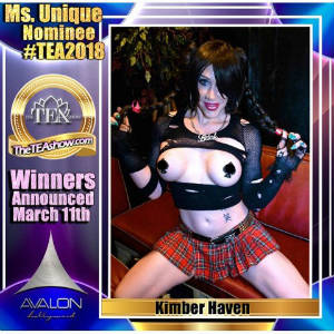 Ad graphic with photo of Kimber Haven advertising her TEA nomination for Miss Unique.