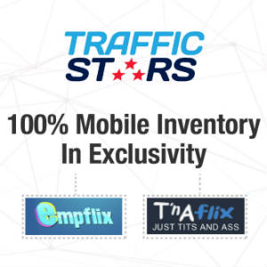 TrafficStars logo with TnAFlix and EMPFlix logos.