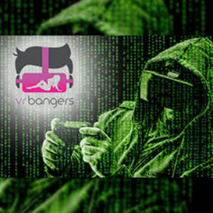VRBangers logo over a green-tinged Matrix-style image of a goggled guy viewing some MR on a device.