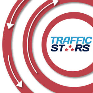 Circular traffic retargetting graphic with TrafficStars logo.