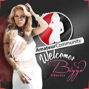 Promo poster welcoming Biggi Bardot in a sexy pose similar to he logo silhouette in the background.