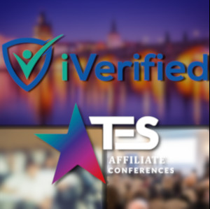 The iVerified and TES logos over a fuzzy Prague background...