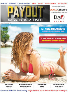 The cover of Payout Magazine vol. 8.7 featuring a beautiful woman in a bikini on a sunny beach...