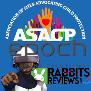 A graphical logo mashup with ASACP, Epoch and Rabbit's Reviews around the Sextronix helmeted Gordon figure.
