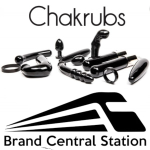 The Chakrubs logo above a selection of their unique sex toys, below all of which sits the BCS zooming train logo.