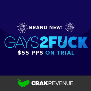 The Gays2Fuck logo is underscored by the CrakRevenue whale logotype.