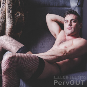 A promo photo of Lance Hart relaxing in a long-slung char, wearing nothing but fishinet stockings.