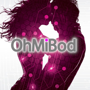 A silhouette image of a woman and man getting close and intimate with purple stars and sparks illuminating their shape from within, and the OhMiBod logo superimposed.