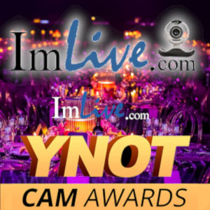 The ImLive and YNOT Cam Awards logos over a background of sumptuous gala event tables.
