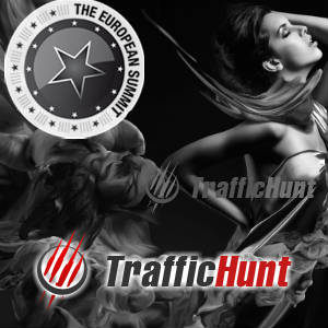 Stylized Graphic with European Summit and Traffic Hunt Logos.