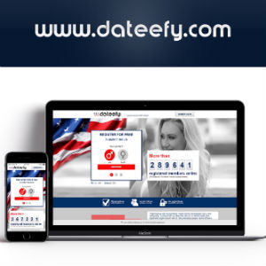 Graphic illustration of Dateefy domain with the site displayed on mobile devices.