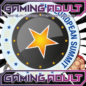 Graphic illustration of Gaming Adult logo over the European Summit 2017 medallion.