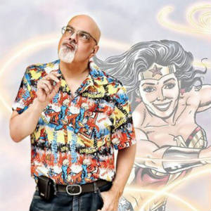 Promo picture of artist George Perez and Wonder Woman.