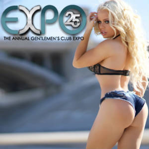 Photo of Nikki Delano in sexy denim hot pants with Gentlemen's Expo 25th anniversary logo.