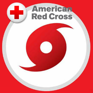 Red Cross logo over a large hurricane or storm icon.