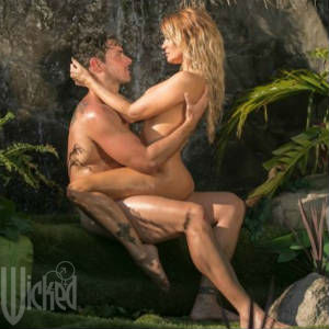 Promotional photo Of Ryan Driller in fully nude embrace with Jessica Drake, as Adam & Eve.