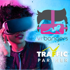 Graphic mashup with VRBangers and Traffic Partner Locos over stylized splashy image of a womn with VR Goggles.