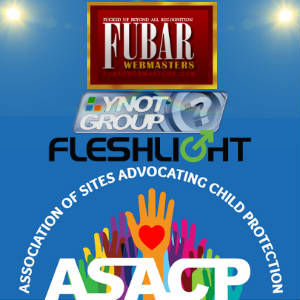 The Logos of ASACP and its honored sponsors: FUBAR, Fleshligh & YNOT Group.