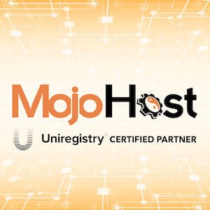 Graphic uniting MojoHost and Uniregistry logos.