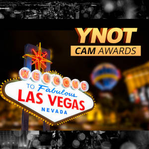 Photo montage of famous Las Vegas welcome sign with YNOT Cam Awards logo.