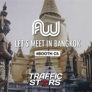 Photo of a temple in bangkok with the Affiliate World Asia and TrafficStars logos.