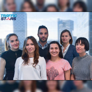 A group photo of the new staff faces at Trafficstars.