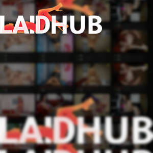 LaidHub Logo collage with out of focus dirty thumbnails from a tube site in the background.