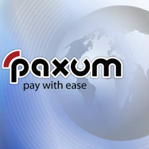 Paxum logo with global image in background.