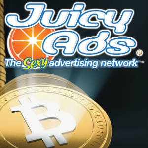 Graphic image with the JuicyAds logo over a shining Bitcoin.