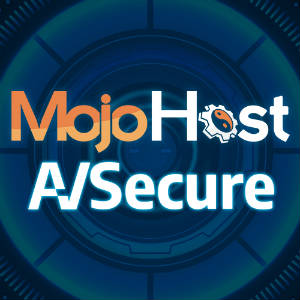 Logo Mashup for MojoHost and AVSecure, with a really cool circular background graphic.