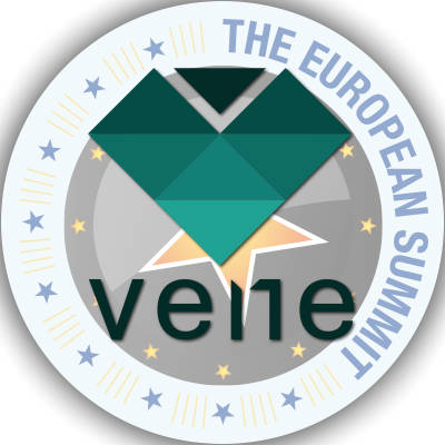 Graphic of the VENE logo over a backdrop of the European Summit medallion.