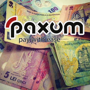Picture of a messy pile of Romanian bank notes with the Paxum logo.