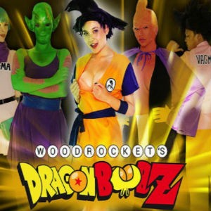 Promo poster with Brenna Sparks and cast in full costume for Woodrocket's Dragon Boob Z porn parody.