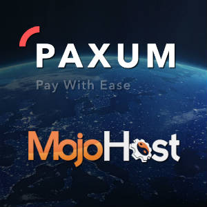 Paxum logo with Paxum site graphic floating above the MojoHost logo.