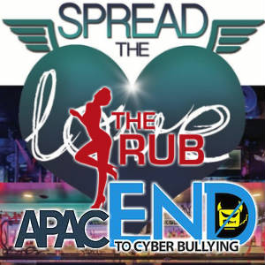 The Rub PR, APAC, EndCyberbullying and #SpreadTheLove logos mashed up.
