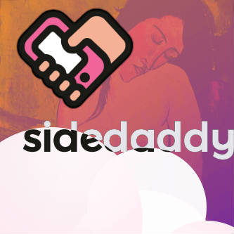 Sidedaddy logo and logotype with cloud graphics.