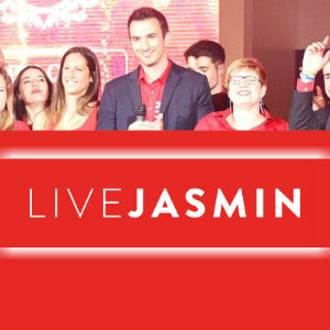 A photo of all the LiveJasmin award winners onstage, flagged top and bottom by the LiveJasmin logo.