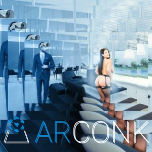 A graphic photo showing a holographically transluscent AR viewer and a hyper-real naked woman, with the ARConk logo at the bottom.