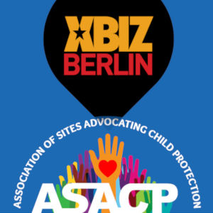 XBiz Berlin and ASACP logos, mashed in a graphic.