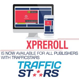 Graphic of stylized monitor and cel phone with the xPreroll announced and Trafficstars logo.