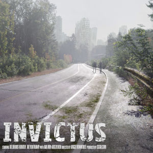 A still from Invictus, with two lonely figures walking away on a long deserted two-lane with in the distance what appears the skyline of a city, abandoned...