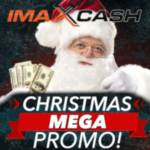 The imaXcash logo appears above the head of a traditional Santa holding money with the mega promo splashed below hit upraised hands...
