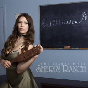 A sexy woman in a negligee stands before a blackboard with 'bad attitude' written upon it, while she holds s lut paddle.