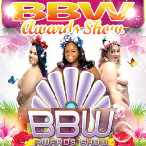 A poster of the BBW Awards Show logo over three semi-nude BBWs.