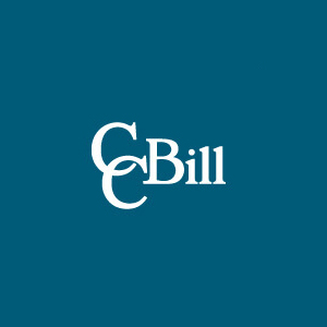 The CCBill logo against a plain blue background.