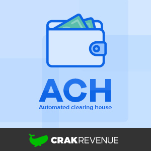 The CrakRevenue whale logo below a ACH and wallet icon.